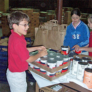 Volunteers Pack Food Bags